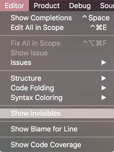 Xcode Show Invisibles